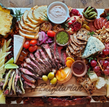 charcuterie board with beef